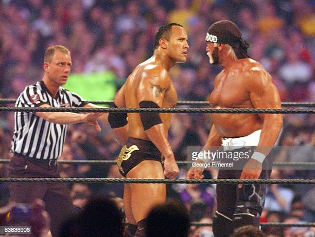 Hollywood Hulk Hogan and The Rock at Wrestlemania X8
