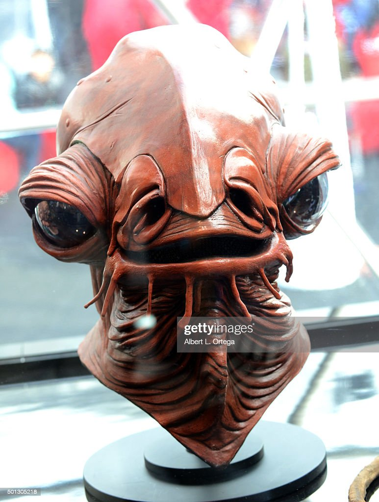 Hollywood Prepares For The Premiere Of Walt Disney Pictures And Lucasfilm's 'Star Wars The Force Awakens' A mask of Admiral Ackbar on display on the...