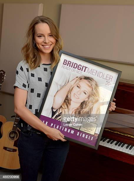 Hollywood Records recording artist Bridgit Mendler receives an RIAA certified platinum award for her debut single 'Hello My Name Is' at Disney...