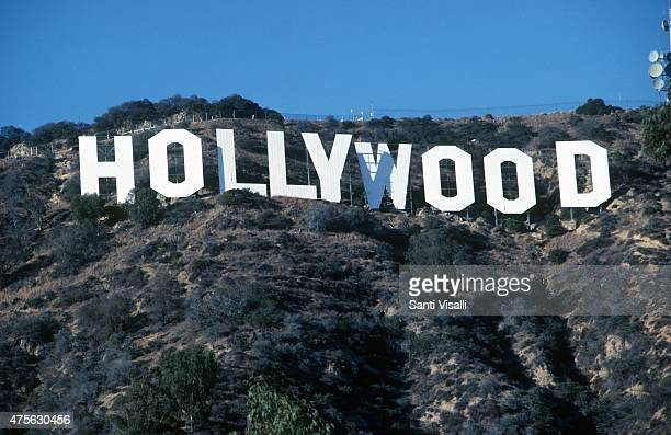 Hollywood sign being painted on March 12 1990 in Hollywood California