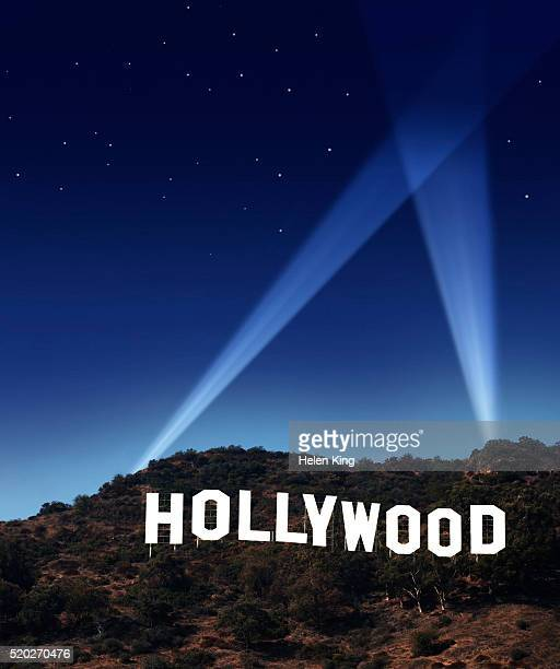 Hollywood Sign At Night Stock Photos and Pictures   Getty ...
