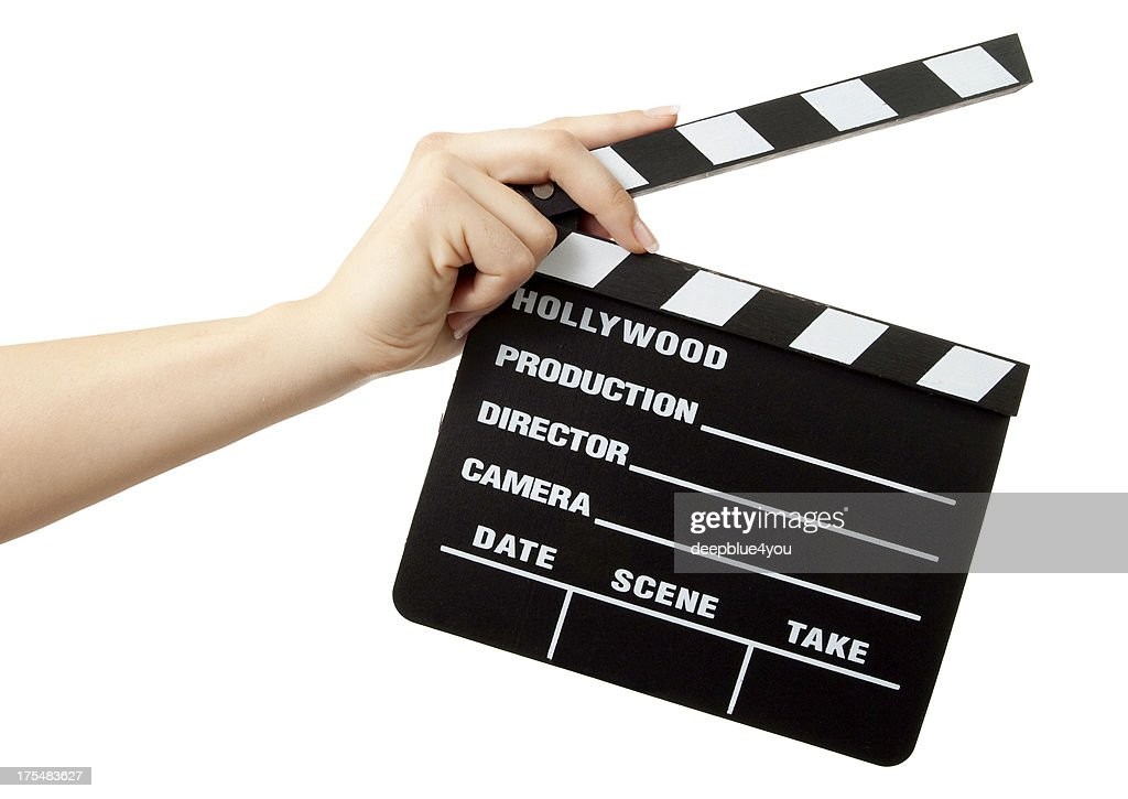 Hollywood Slate board in woman hands isolated