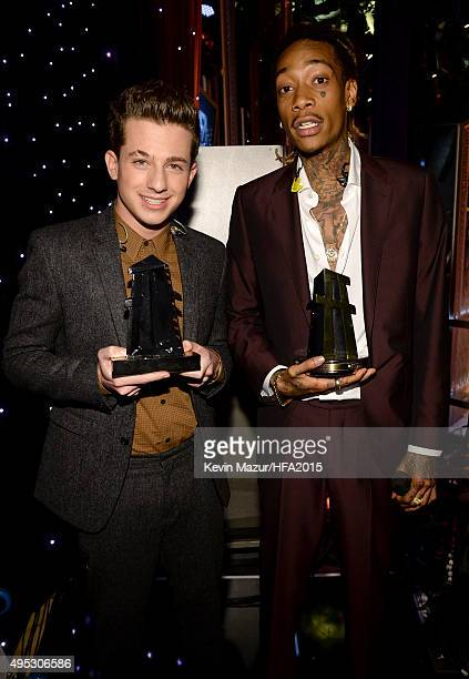 Hollywood Song Award honoree Charlie Puth and Wiz Khalifa attend the 19th Annual Hollywood Film Awards at The Beverly Hilton Hotel on November 1 2015...