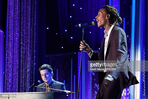 Hollywood Song Award honorees Charlie Puth and Wiz Khalifa perform onstage during the 19th Annual Hollywood Film Awards at The Beverly Hilton Hotel...
