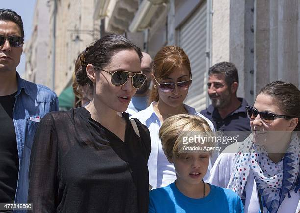 Hollywood star and UN High Commissioner for Refugees Goodwill Ambassador Angelina Jolie and her daughter Shiloh JoliePitt are seen in Turkey's...