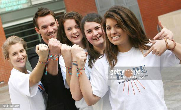 Hollywood star Jonathan RhysMeyers meets schoolgirl schoolgirl volunteers from Alexandra College Milltown Meabh Hyland Alannah Horne Jaimie...