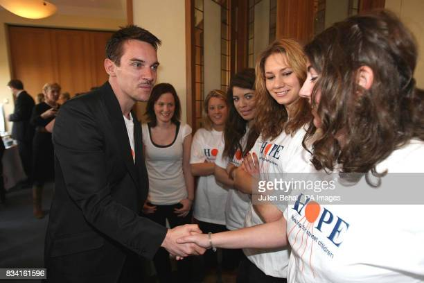 Hollywood star Jonathan RhysMeyers meets schoolgirl volunteers from Alexandra College Milltown in the Clarence Hotel Dublin as he revealed his plans...