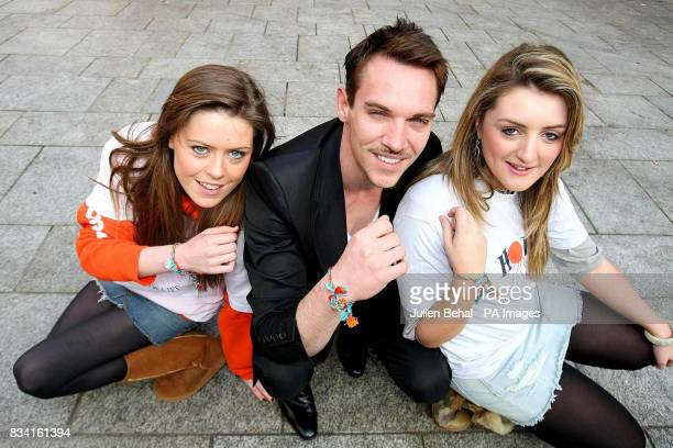 Hollywood star Jonathan RhysMeyers meets schoolgirl volunteers Ruth Thomas and Jessica Lord from Loreto College Dalkey as he revealed his plans to...