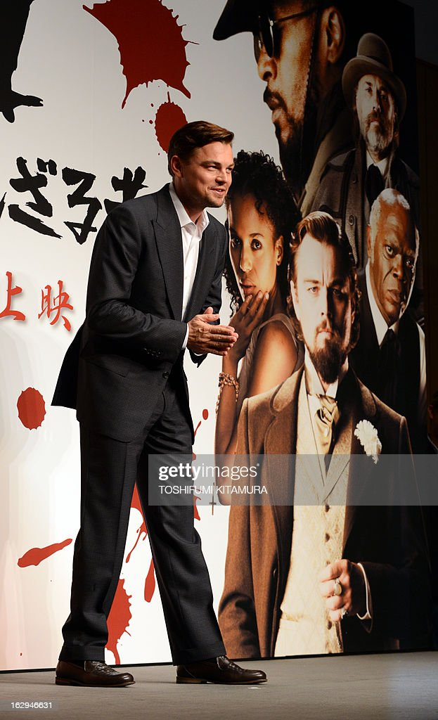 US Hollywood star Leonardo DiCaprio bows in a photo session during the press conference on his latest movie, 'Django Unchained' in Tokyo on March 2, 2013. The film started to be shown nation wide from March 1.