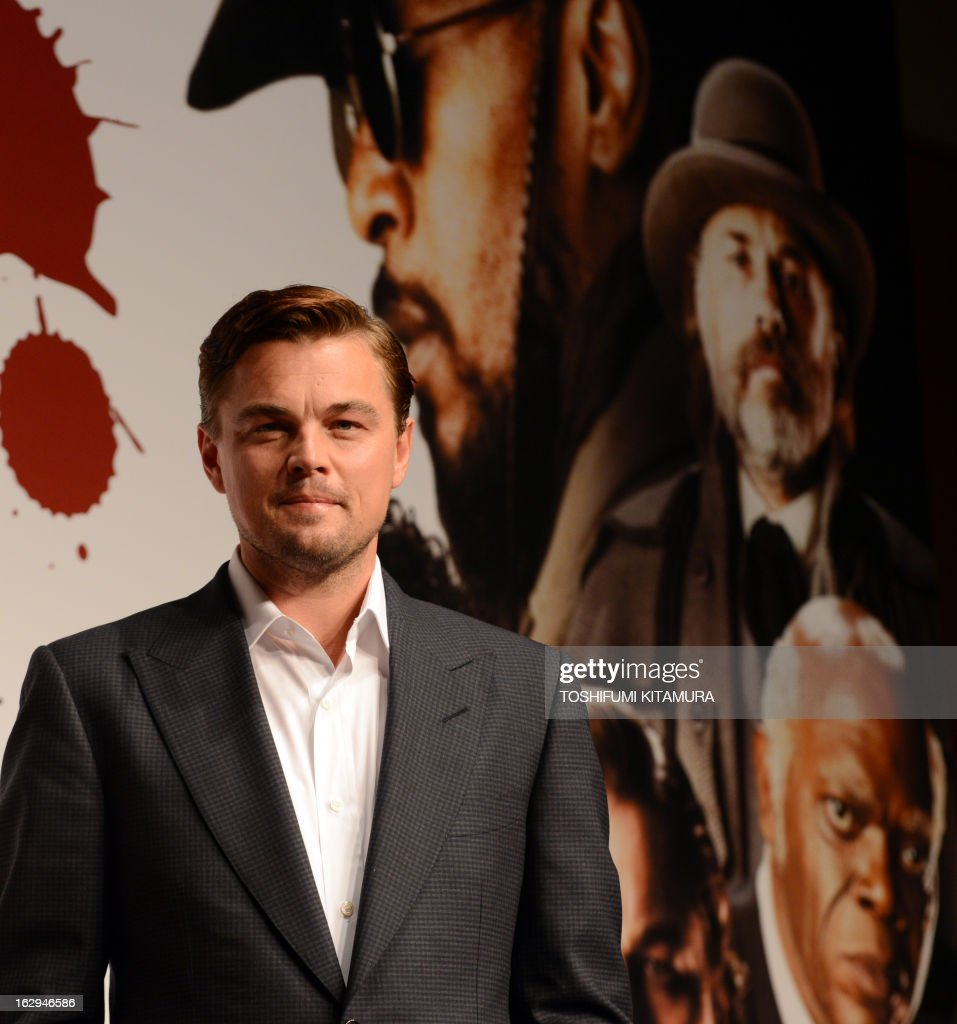 US Hollywood star Leonardo DiCaprio poses in a photo session during the press conference on his latest movie, 'Django Unchained' in Tokyo on March 2, 2013. The film started to be shown nation wide from March 1.