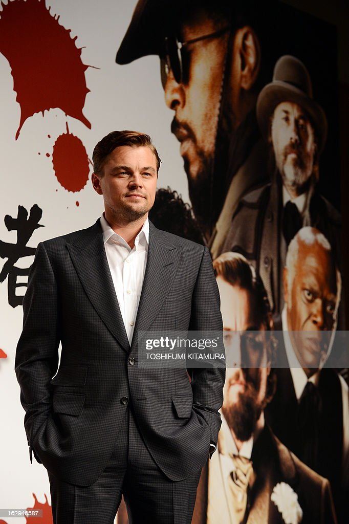 US Hollywood star Leonardo DiCaprio poses in a photo session during the press conference on his latest movie, 'Django Unchained' in Tokyo on March 2, 2013. The film started to be shown nation wide from March 1. AFP PHOTO / TOSHIFUMI KITAMURA