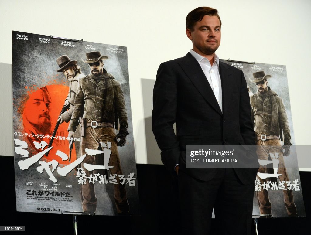 US Hollywood star Leonardo DiCaprio poses in a photo session while greeting fans on the stage of his latest movie, 'Django Unchained' in Tokyo on March 2, 2013. The film started to be shown nation wide from March 1.