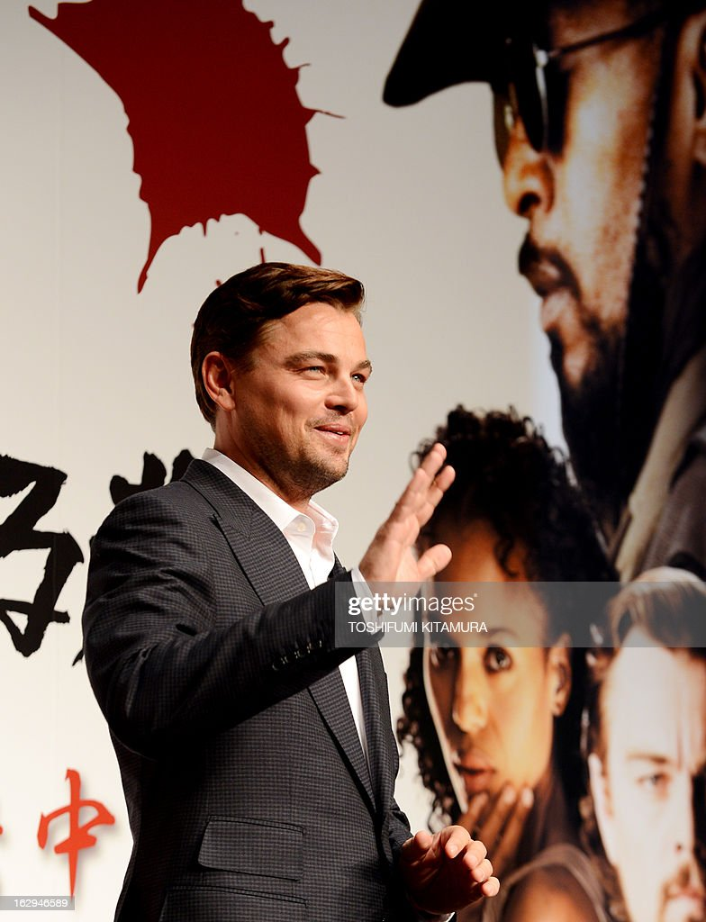 US Hollywood star Leonardo DiCaprio waves in a photo session during the press conference on his latest movie, 'Django Unchained' in Tokyo on March 2, 2013. The film started to be shown nation wide from March 1.