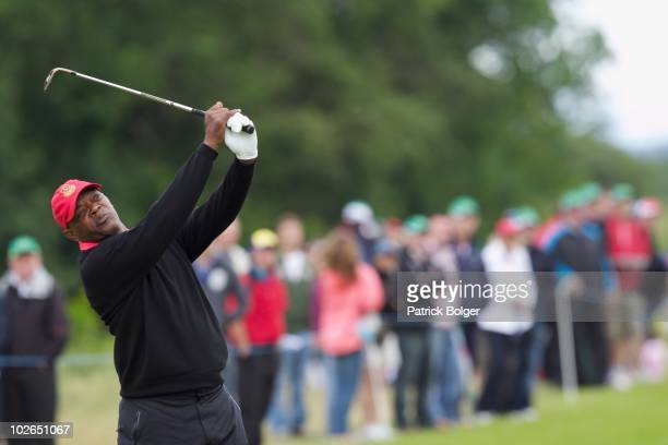 Hollywood star Samuel L Jackson in action during the second round of The JP McManus Invitational ProAm event at the Adare Manor Hotel and Golf Resort...