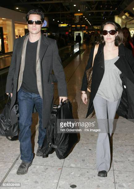 Hollywood stars Brad Pitt and Angelina Jolie at Heathrow Airport where they are due to leave the UK on a flight to Zurich Wednesday January 25 2006...