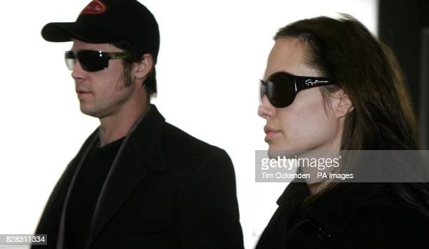 Hollywood stars Brad Pitt and Angelina Jolie at Heathrow Airport after flying from Zurich