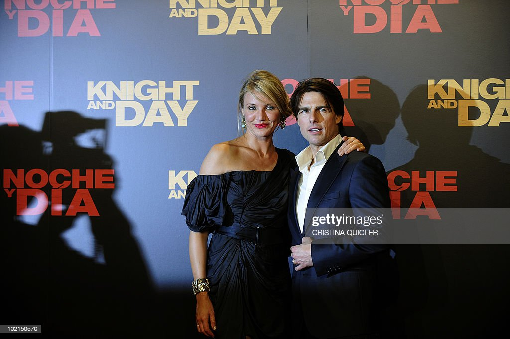 Hollywood stars Cameron Diaz (L) and Tom Cruise pose on the red carpet for the international film premiere of their new film 'Knight and Day' by US director James Mangold in Sevilla on June 16, 2010. Cruise, 47, and Diaz, 37, filmed key scenes of the action-comedy movie in Seville as well as in the nearby coastal city of Cadiz last year.