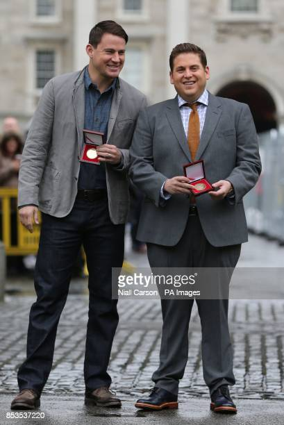 Hollywood Stars Channing Tatum and Jonah Hill receive Bram Stoker medals from The Phil Society of Trinity College while in Ireland promoting their...