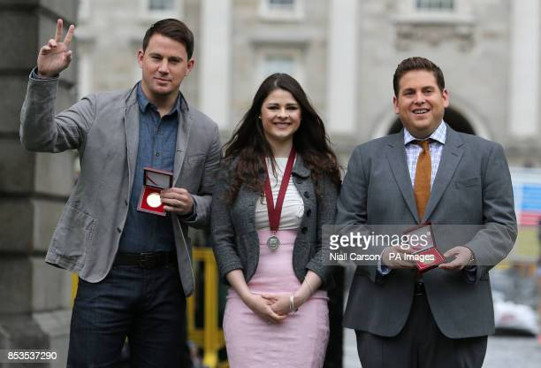 Hollywood Stars Channing Tatum and Jonah Hill receive Bram Stoker medals from Sarah Martell from the The University Philosophical Society of Trinity...