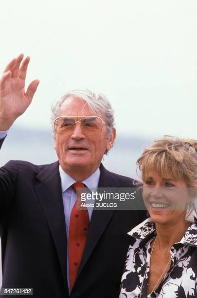 Hollywood stars Gregory Peck and Jane Fonda at 42nd Cannes Film Festival on May 22 1989 in Cannes France