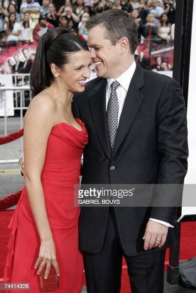 Actor Matt Damon and his wife Luciana Barroso arrive for the US premiere of Ocean's Thirteen 05 June 2007 at the Grauman's Chinese Theater in...