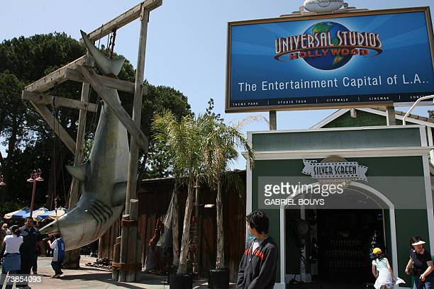 Kids play with the Steven Spielberg film character Jaws at Universal Studios in Hollywood 09 April 2007 Universal Studios Hollywood is the original...