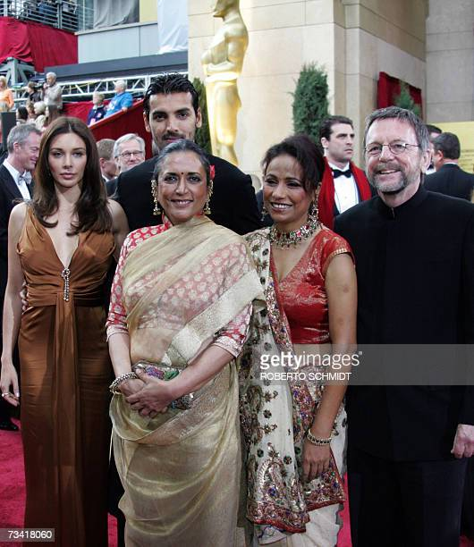 The crew of the movie 'Water' arrive at the 79th Academy Awards in Hollywood California 25 February 2007 From left are actress Lisa Ray actor John...