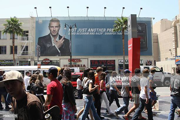 The image of British soccer sensation David Beckham is featured in an advertisement for a cellular phone in Hollywood California 25 July 2007 The...