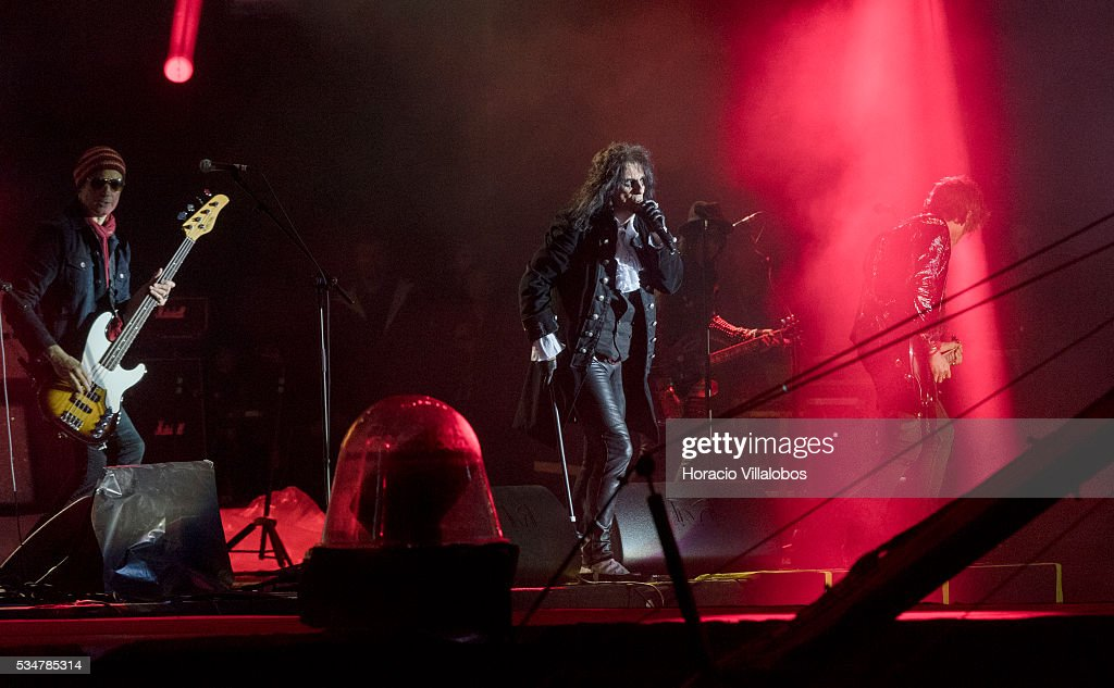 Hollywood Vampires, an American rock supergroup formed in 2015 by Alice Cooper, Johnny Depp and Joe Perry, performs during the third day of Rock in Rio Lisbon on May 27, 2016 in Lisbon, Portugal. The band name derives from The Hollywood Vampires, a celebrity drinking club formed by Cooper in the 1970s whose members included Ringo Starr of The Beatles and Keith Moon of The Who. (Photo by Horacio Villalobos#476916#51B ED/Corbis via Getty Images).