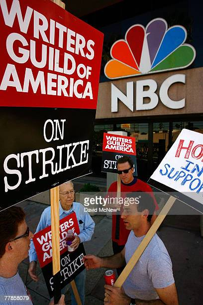Hollywood writers walk the picket line outside of NBC Studios and The Tonight Show Studio where the latenight show hosted by Jay Leno has not taped a...