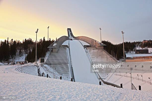 Holmenkollen Ski Arena  at sunset.