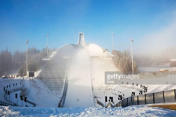 Holmenkollen Ski Arena  in mist.