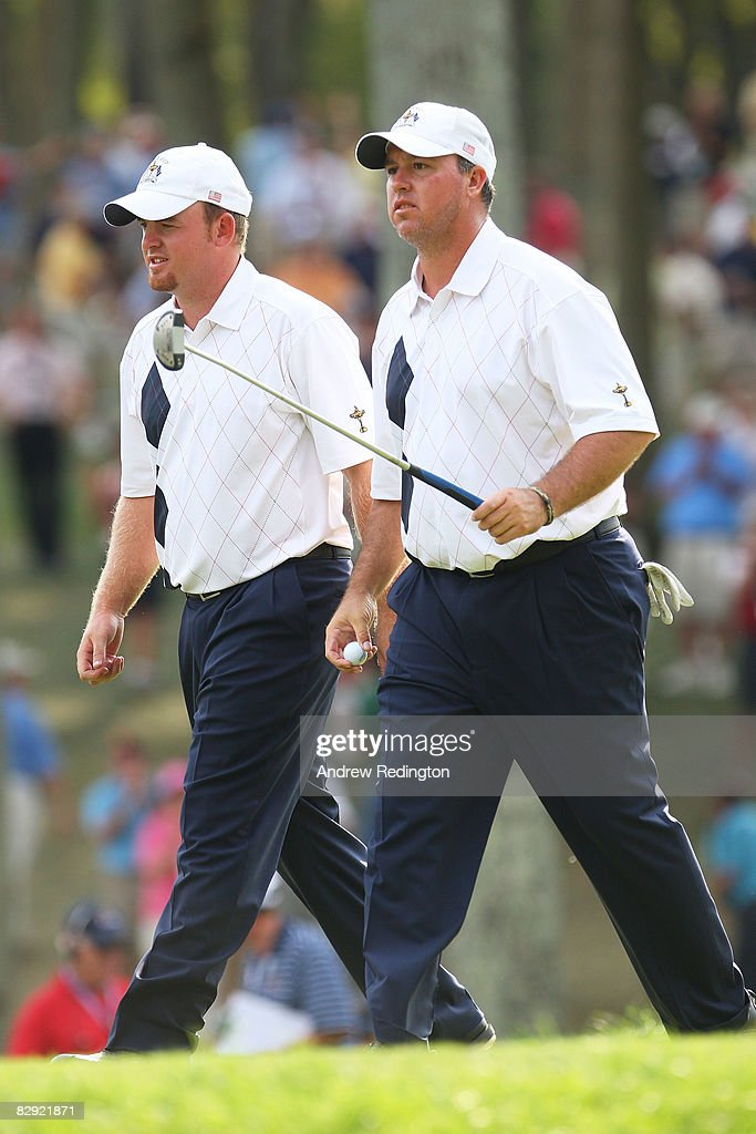 J.B. Holmes and Boo Weekley of the USA team walk off the 13th green during the afternoon four-ball matches on day one of the 2008 Ryder Cup at Valhalla Golf Club on September 19, 2008 in Louisville, Kentucky.