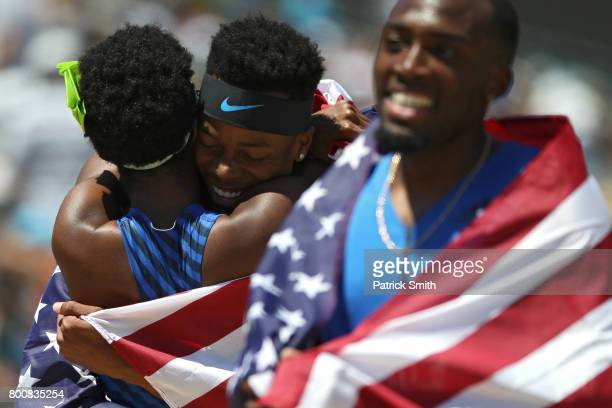Holmes and Shamier Little embrace after the Women's and Men's 400m Hurdles Finals during Day 4 of the 2017 USA Track Field Outdoor Championships at...