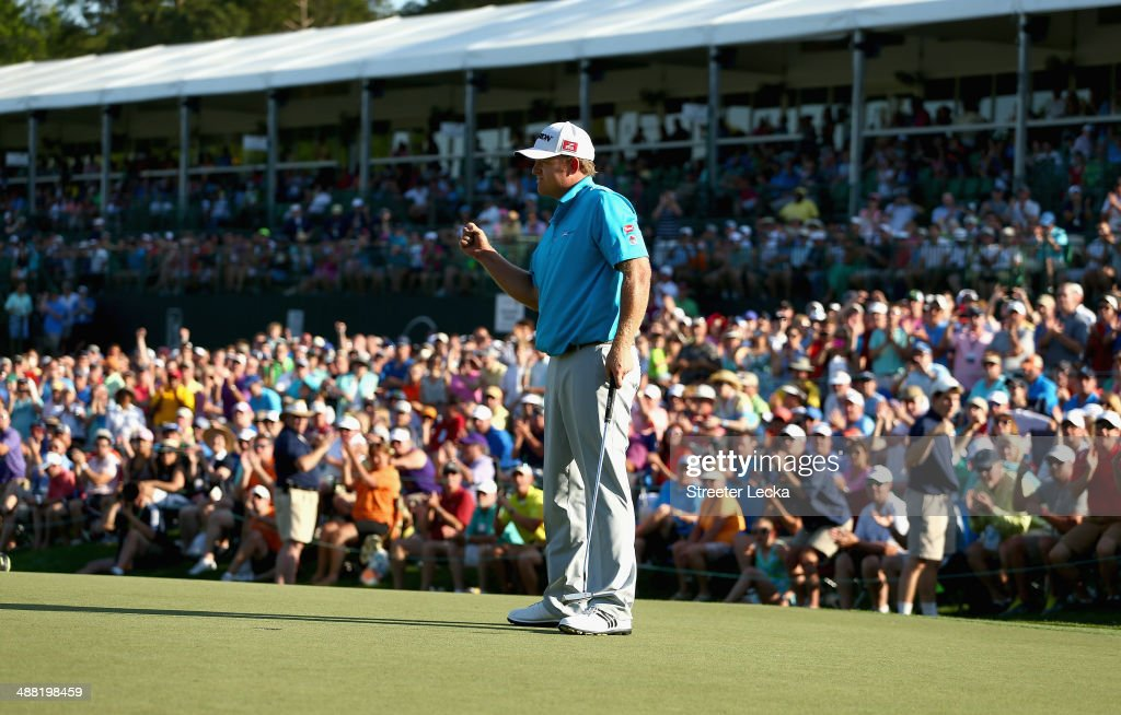 B Holmes celebrates after winning the Wells Fargo Championship in the final round on May 4 2014 in Charlotte North Carolina