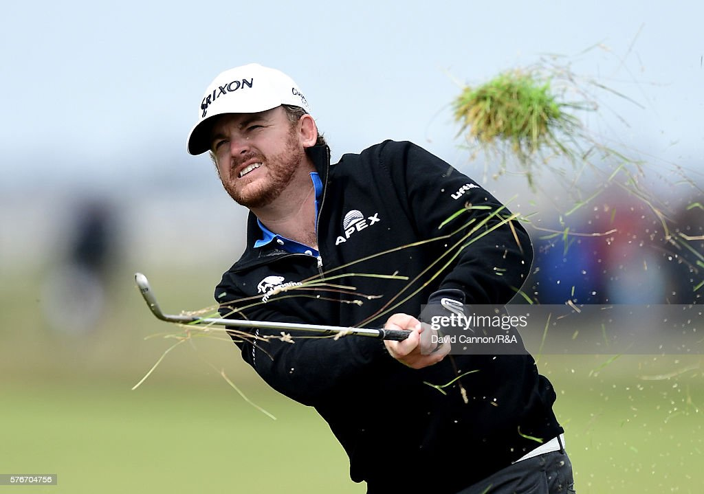 Holmes of the United States plays his second shot on the 2nd hole during the final round on day four of the 145th Open Championship at Royal Troon on...