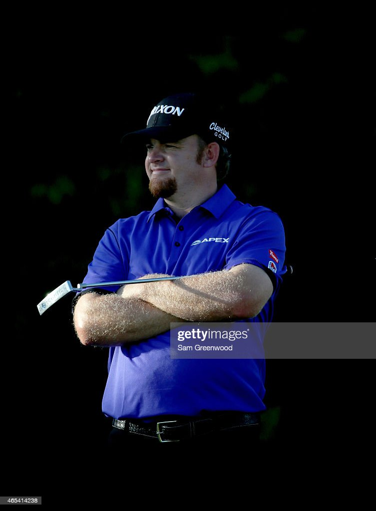 B Holmes of the United States waits to play a shot on the 15th hole during the second round of the World Golf ChampionshipsCadillac Championship at...