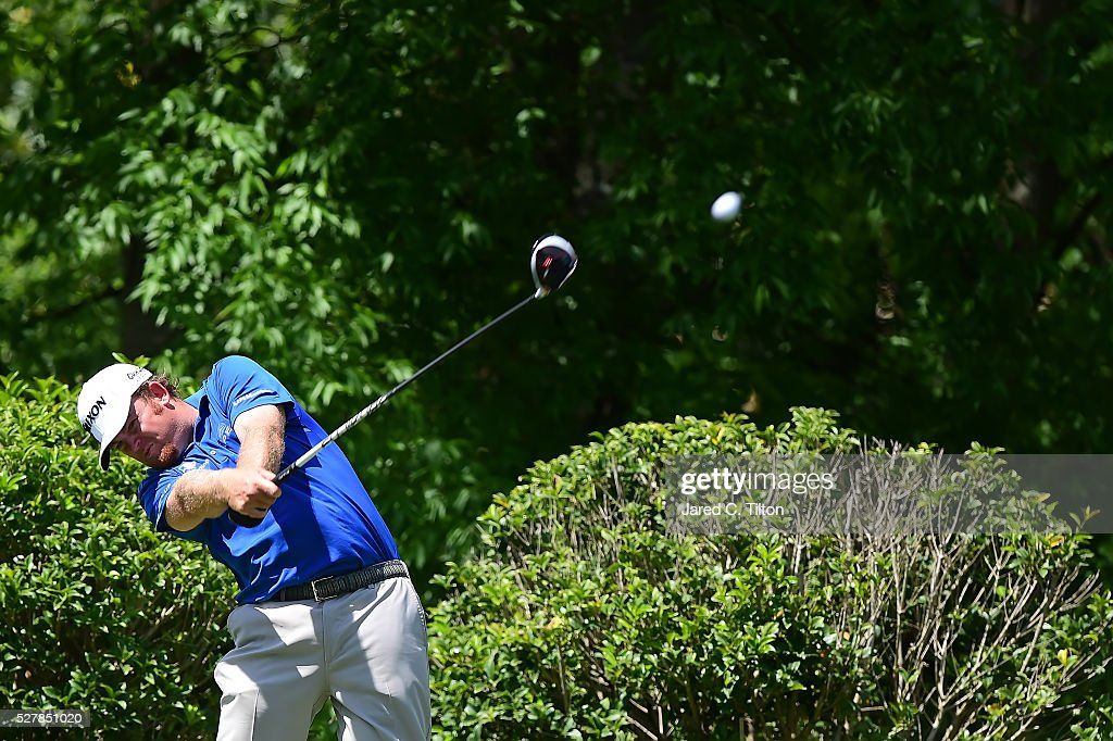 Holmes plays a shot during his practice round of the Wells Fargo Championship at Quail Hollow Club on May 3 2016 in Charlotte North Carolina