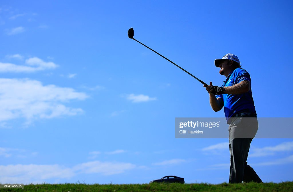 J.B. Holmes plays his shot from the fifth tee during round two of the Hyundai Tournament of Champions at the Plantation Course at Kapalua Golf Club on January 8, 2016 in Lahaina, Hawaii.