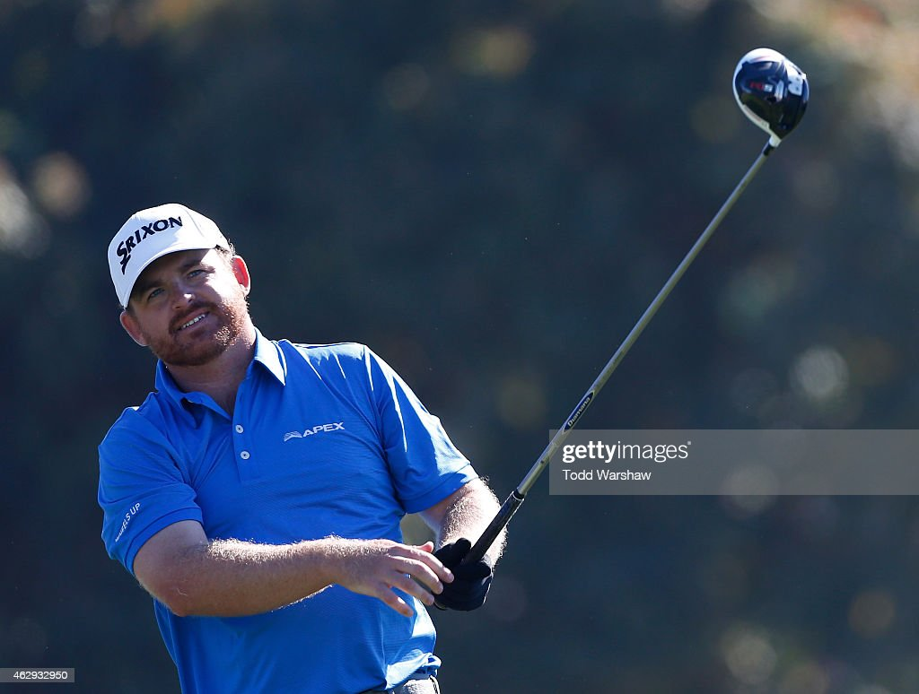 B Holmes plays his tee shot on the 18th hole during the third round of the Farmers Insurance Open at Torrey Pines South on February 7 2015 in La...