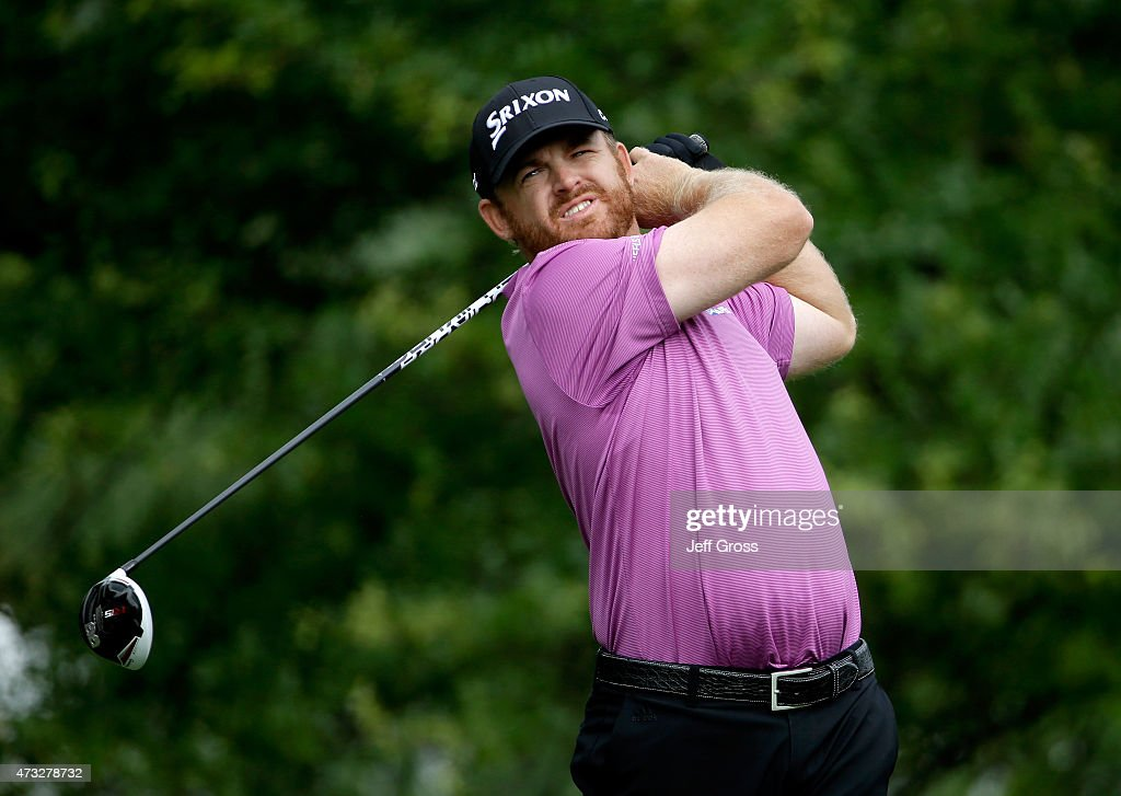 B Holmes tees off on the 16th hole during round one at the Wells Fargo Championship at Quail Hollow Club on May 14 2015 in Charlotte North Carolina