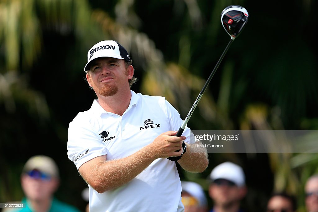B Holmes tees off on the eighth hole during the second round of the World Golf ChampionshipsCadillac Championship at Trump National Doral Blue...