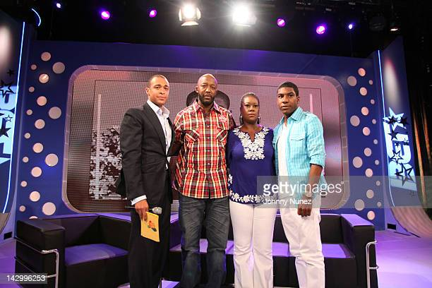 TJ Holmes with Trayvon Martin's family Tracy Martin Sybrina Fulton and Jahvaris Fulton on BET's '106 Park' at BET Studios on April 16 2012 in New...