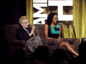 Holocaust survivor Celina Biniaz and USC Shoah Foundation IWitness educator Michelle Clark onstage during USC Shoah Foundation's 20th Anniversary...