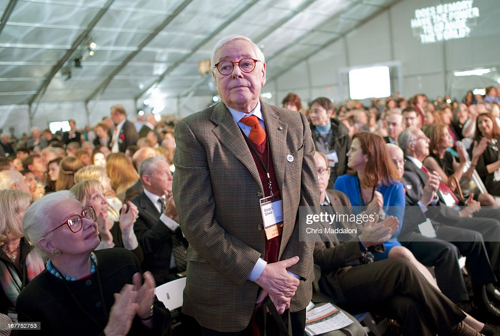 Holocaust survivor George Schwab stands at a Holocaust Memorial Museum ceremony for the museum's 20th anniversary in Washington, DC..