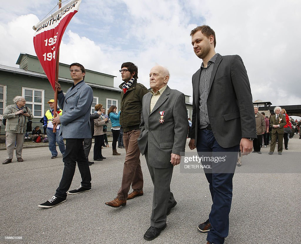 Holocaust survivor Josef Klat (2nd R) is pictured as people commemorate the liberation of the Nazi concentration camp Mauthausen on May 12, 2013, 160 kilometers near Vienna.