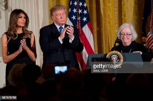 Holocaust survivor Louise LawrenceIsraels speaks alongside US President Donald Trump and First Lady Melania Trump during a Hanukkah reception in the...