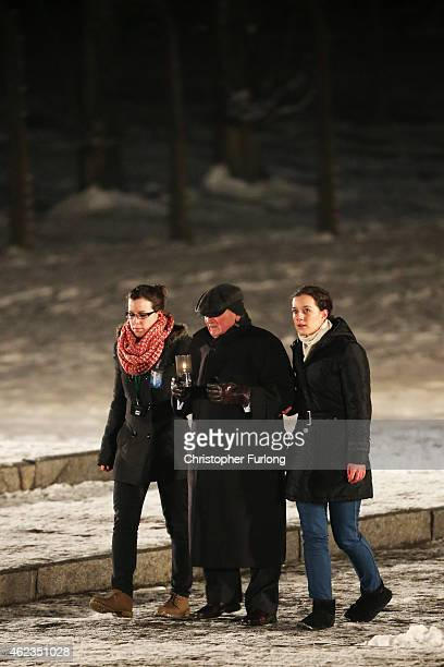 Holocaust survivor Roman Kent makes his way to lay candles at the Birkenau Memorial during the commemoration of the 70th anniversary of the...