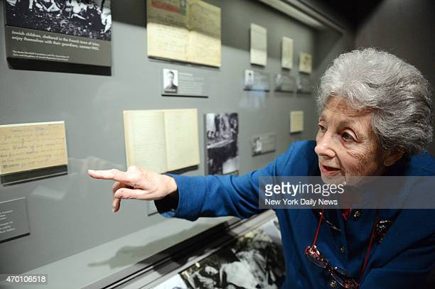 Holocaust survivors discuss personal artifacts and tell their stories of survival to students from The Ramaz School at the Museum of Jewish Heritage...