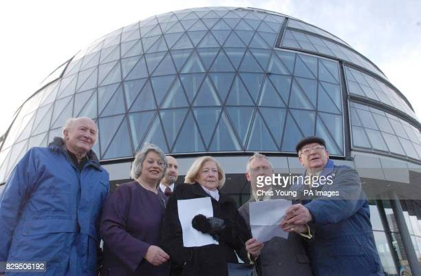 Holocaust Survivors Roman Halter Gena Turgel and Joseph Perl hand a petition to members of the London Assembly City Hall Ken Livingstone refused to...